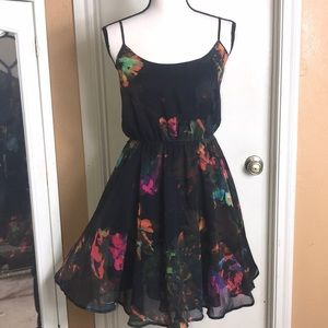 Nwt H&M Vibrant Floral Dress Spaghetti Strap Sz 8